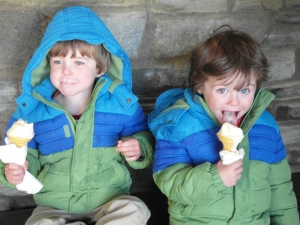 The boys eating ice cream