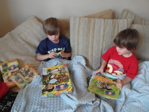 The boys enjoying their Tree Fum Tom goodies
