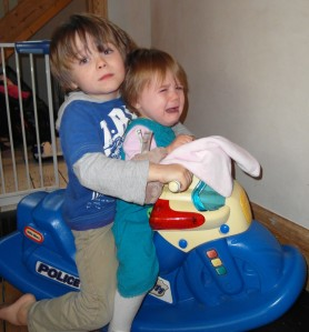 T1 and E on the rocking motorbike