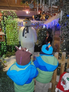 The boys meeting the Snowman