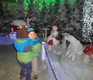 My boys having a cuddle in the Winter Wonderland