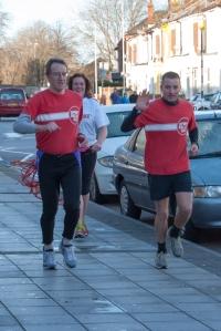 John, Dee and Richard finishing the first run