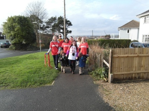 Lisa and I leading the twin mum walk with my boys from Warsash to B&Q