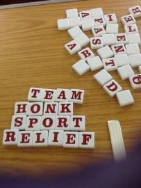 Scrabble tiles spelling Team Honk Sport Relief