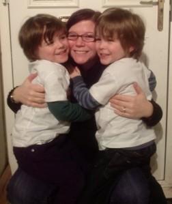Twin cuddles with my boys